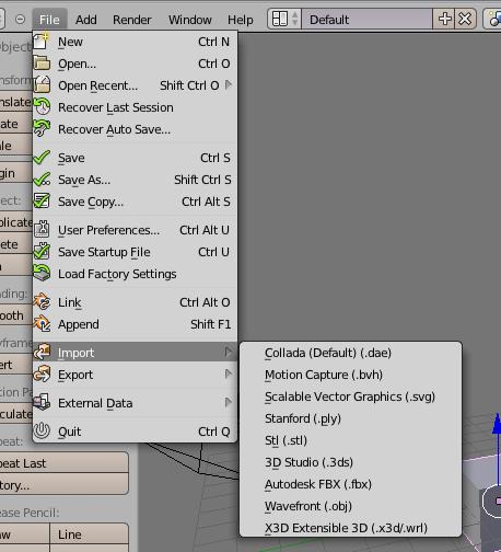 chapter: Comment-Importer / Blender pour l'impression 3D